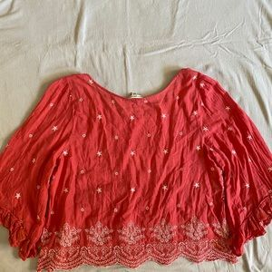 American Eagle Coral Peasant Top